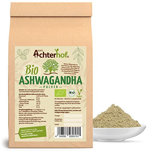 Ashwagandha Pulver BIO (250g) |100% ECHTE Ashwagandhawurzel gemahlen...