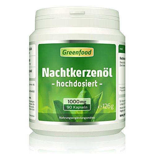 Greenfood Nachtkerzenöl, 1000 mg, hochdosiert, 90 Softgel-Kapseln –...
