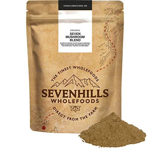 Sevenhills Wholefoods Bio 7 Pilz Pulver Mischung 500g, Reishi, Chaga,...