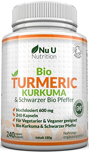 Bio Curcuma | Kurkuma Kapseln Hochdosiert 600mg | 240 Kapseln mit...