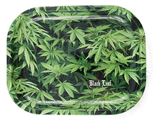 'Black Leaf' Rolling Tray Hemp - Hanfblätter - 180x140x16mm,...